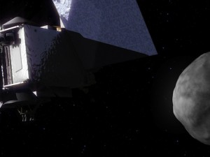 Artist's concept of the OSIRIS-REx spacecraft at asteroid Bennu. Credit: NASA's Goddard Space Flight Center Conceptual Image Lab