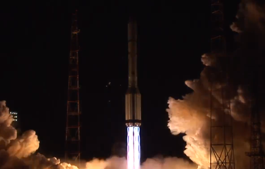 The Proton rocket launched at 0016 GMT Monday (7:16 p.m. EST Sunday) with the Yamal 401 communications satellite. Credit: ILS