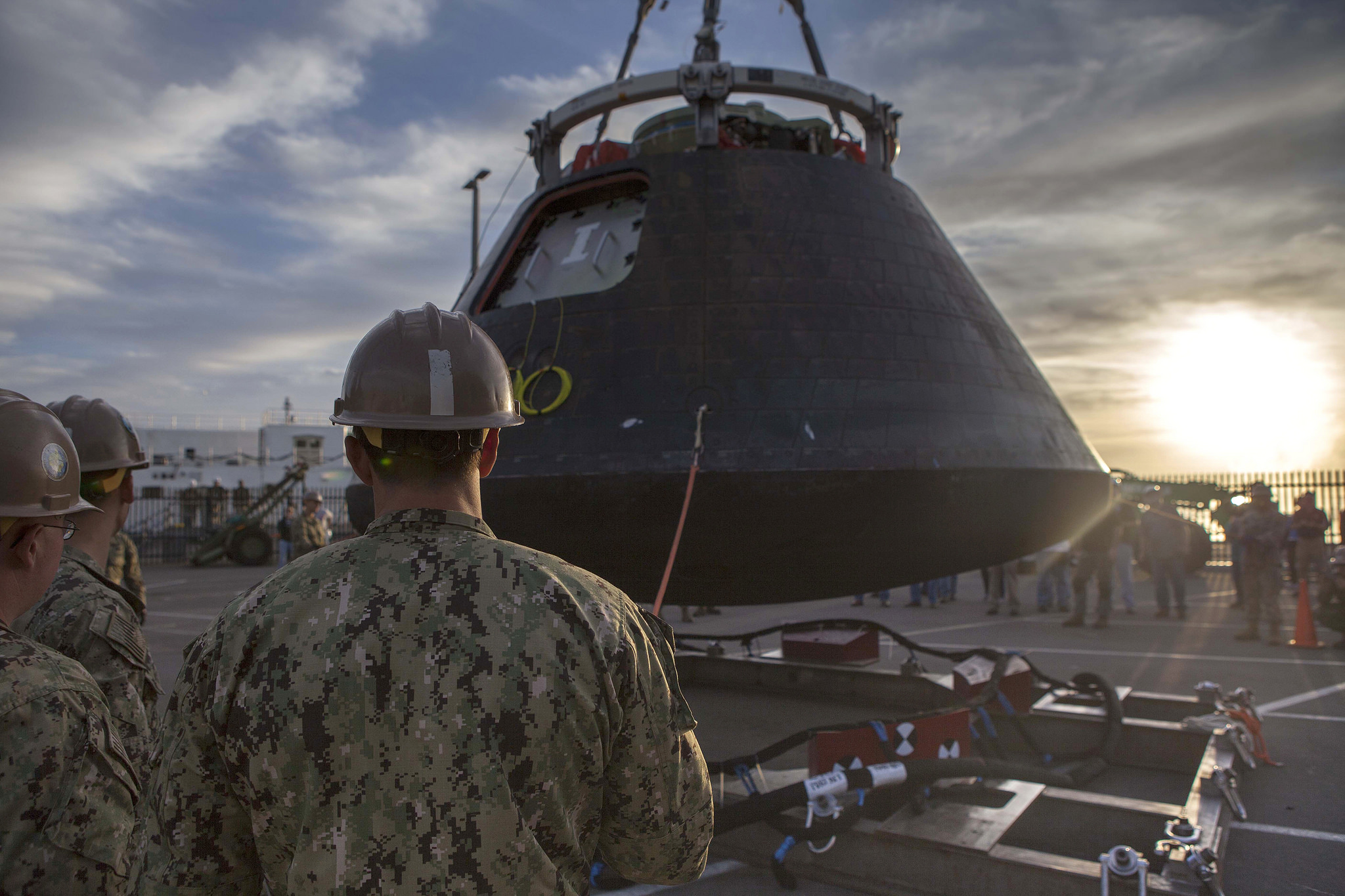 The Orion spacecraft at Naval Base San Diego before its shipment back to Florida. Credit: NASA/Cory Huston