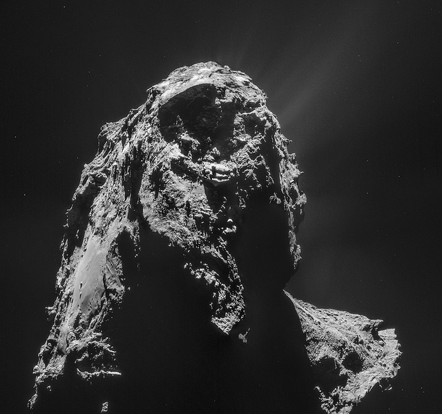 This image of comet 67P taken by Rosetta's navigation camera shows jet activity around the nucleus. Credit:  ESA/Rosetta/NAVCAM