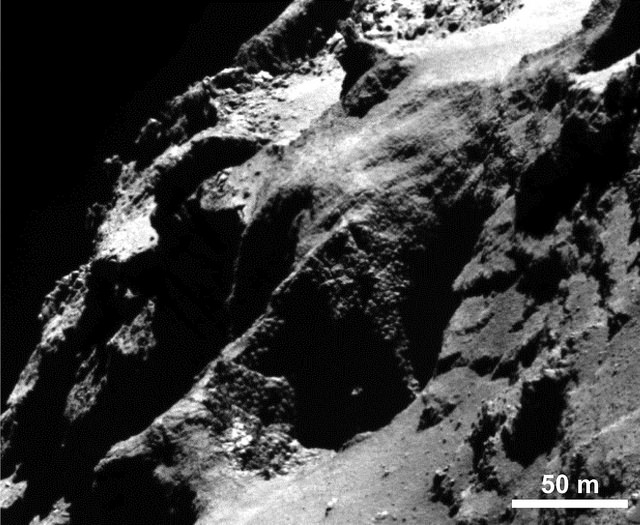 "Rosetta's OSIRIS narrow-angle camera captured this close-up of an unusual surface feature on comet 67P scientists have nicknamed ""goosebumps."" Credit: ESA/Rosetta/MPS for OSIRIS Team MPS/UPD/LAM/IAA/SSO/INTA/UPM/DASP/IDA"
