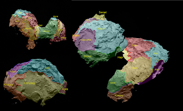 The 19 regions identified on Comet 67P/Churyumov–Gerasimenko are separated by distinct geomorphological boundaries. Following the ancient Egyptian theme of the Rosetta mission, they are named for Egyptian deities. Credit: ESA/Rosetta/MPS for OSIRIS Team MPS/UPD/LAM/IAA/SSO/INTA/UPM/DASP/IDA/UPM/DASP/IDA