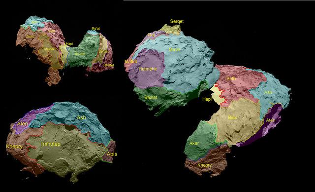 The 19 regions identified on Comet 67P/Churyumov–Gerasimenko are separated by distinct geomorphological boundaries. Following the ancient Egyptian theme of the Rosetta mission, they are named for Egyptian deities. Credit: ESA/Rosetta/MPS for OSIRIS Team MPS/UPD/LAM/IAA/SSO/INTA/UPM/DASP/IDA/UPM/DASP/IDA