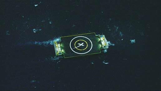 A view of SpaceX's rocket landing ship in the Atlantic Ocean. Credit: SpaceX via Elon Musk
