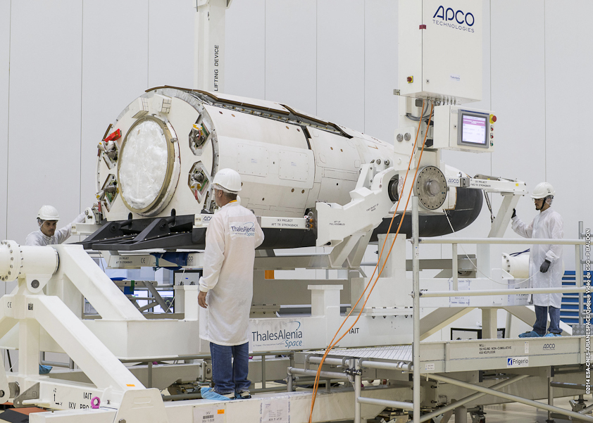 The European Space Agency's Intermediate Experimental Vehicle inside a clean room at the Guiana Space Center. Credit: ESA/CNES/Arianespace – Photo Optique Video du CSG – P. Baudon