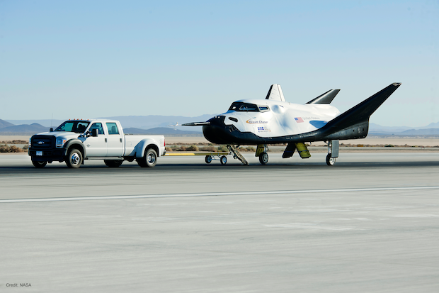 Sierra Nevada's Dream Chaser spacecraft undergoing tow testing at NASA's Armstrong Flight Research Center in California. Credit: NASA