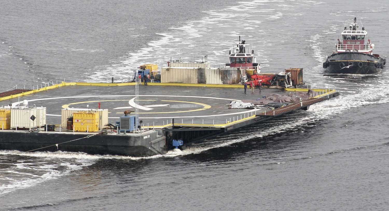 photos spacex s rocket landing platform back in port