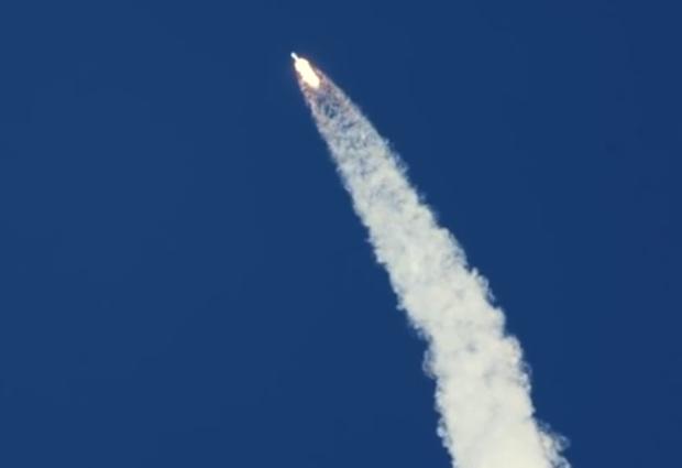 The Falcon 9 rocket reaches Max Q, the point of maximum aerodynamic pressure.