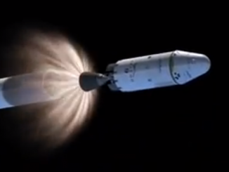 The second stage Merlin vacuum engine ignites for a nearly seven-minute burn to inject the Dragon payload into orbit.