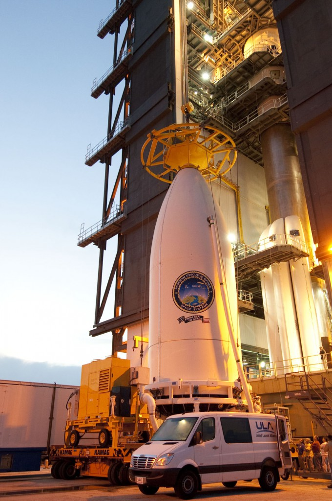 File image of MUOS 1 being hoisted. Credit: ULA