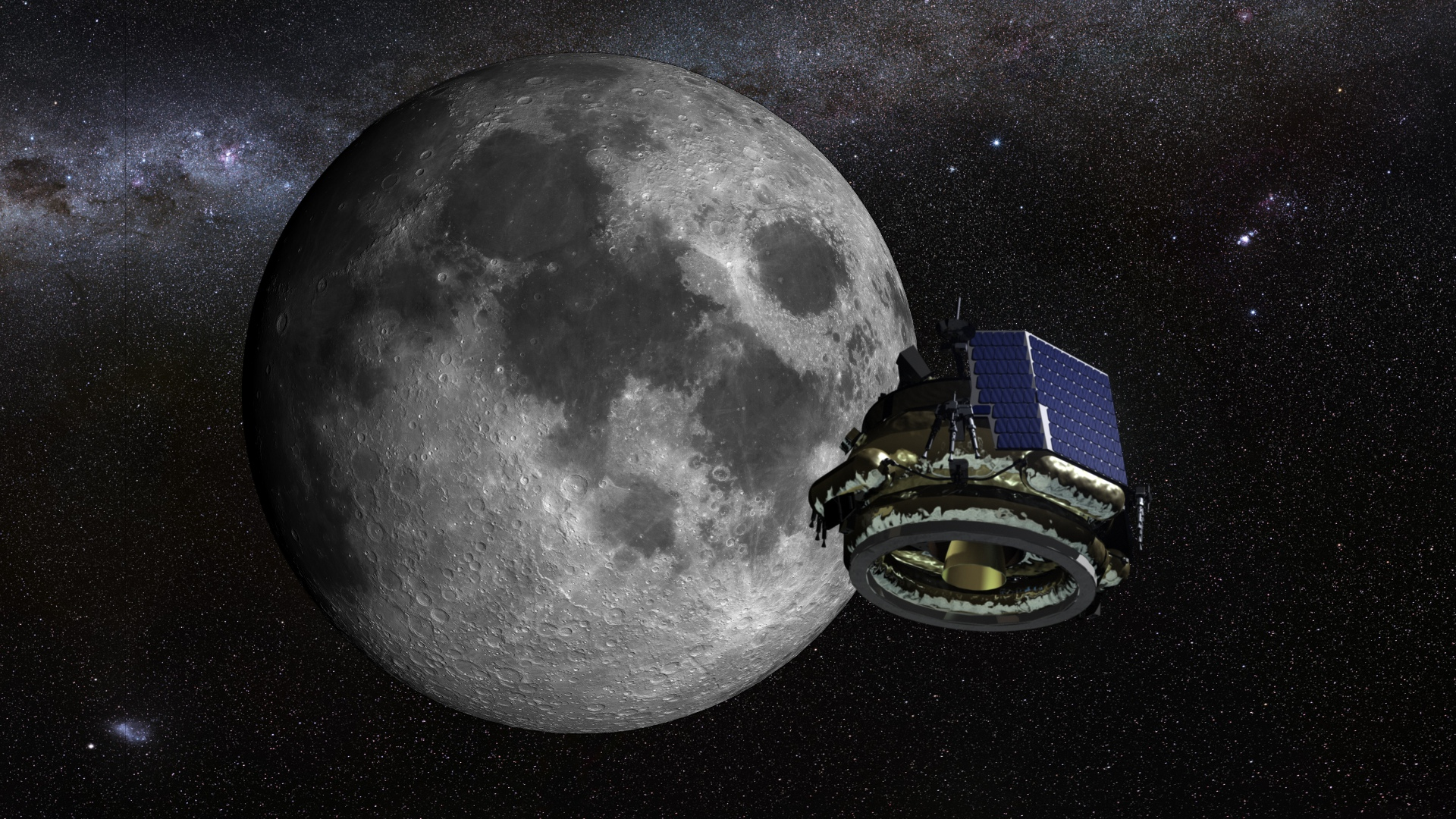 Artist's concept of the Moon Express MX-1 spacecraft flying to the moon. Credit: Moon Express