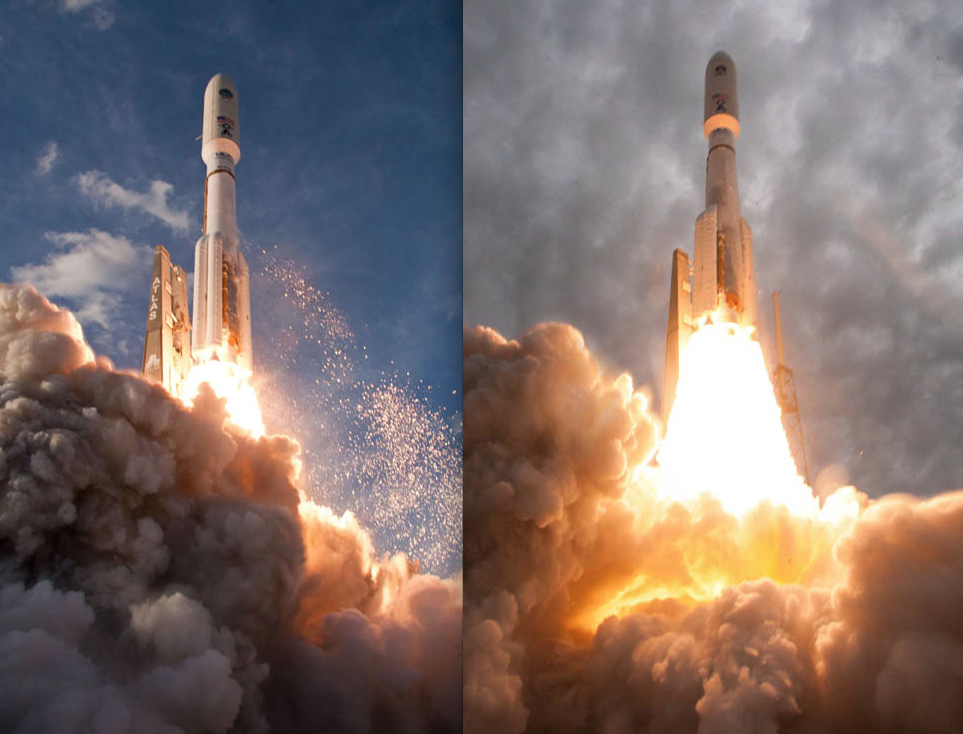 The MUOS 1 (left) and MUOS 2 (right) launches. Credit: ULA