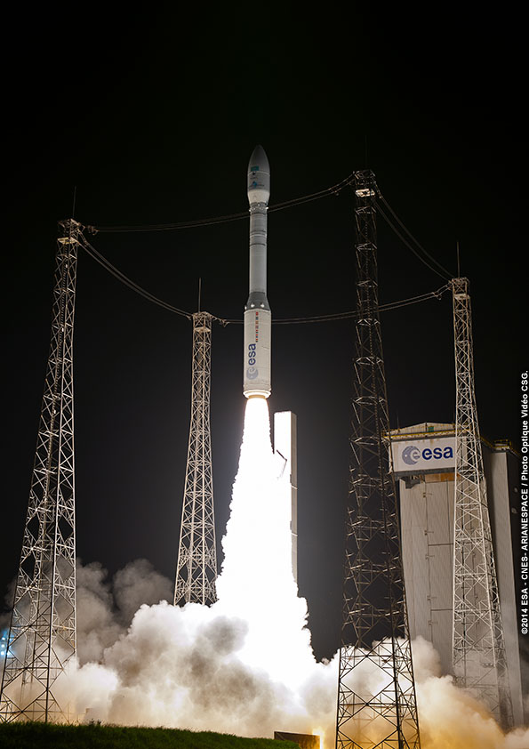 The Vega rocket's first stage P80 solid rocket motor ignites and powers the 98-foot-tall booster off the launch pad 0.3 seconds later. The P80 first stage motor generates a maximum of 683,000 pounds of thrust.