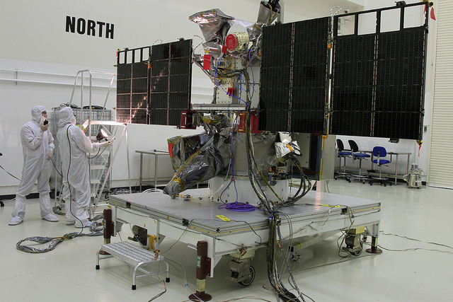 The Deep Space Climate Observatory inside a clean room before launch. Credit: NASA/Ben Smegelsky