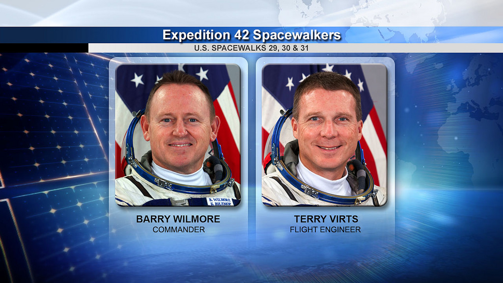 """Astronauts Barry """"Butch"""" Wilmore and Terry Virts will begin a series of three spacewalks Saturday. Credit: NASA"""
