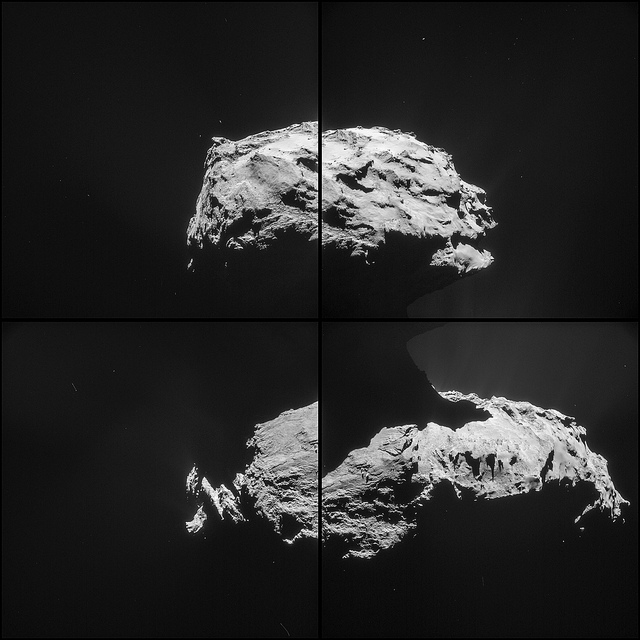 A four-frame composite image of comet 67P/Churyumov-Gerasimenko taken 31.6 kilometers (19.6 miles) from the comet's center as Rosetta flew away from the nucleus after Saturday's flyby. Credit: ESA/Rosetta/NAVCAM