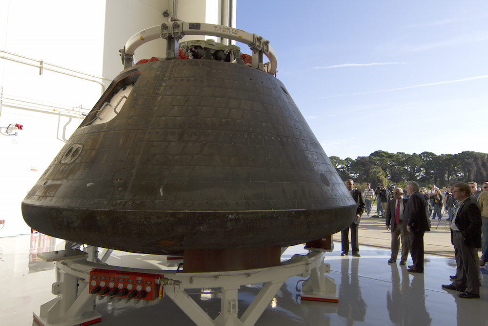 The Orion spacecraft returned to the Kennedy Space Center in December after its four-and-a-half hour test flight. Credit: NASA/Cory Huston
