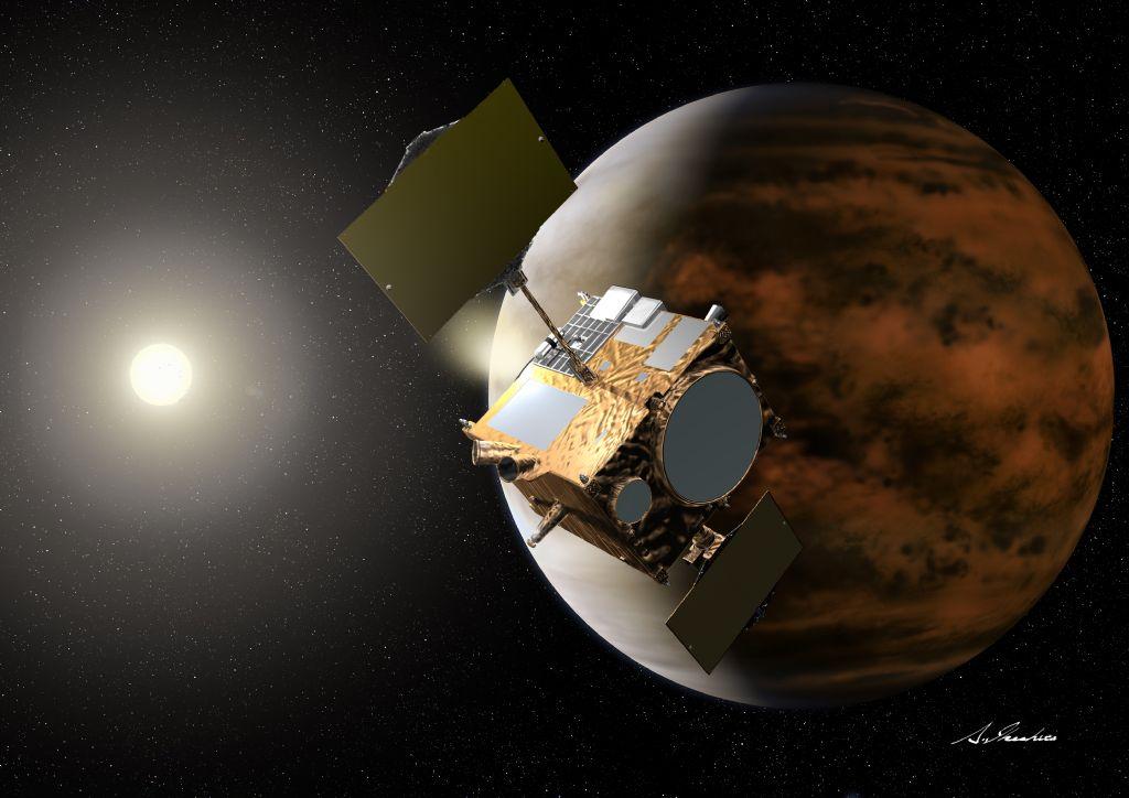 Artist's concept of the Akatsuki spacecraft at Venus. Credit: JAXA/Akihiro Ikeshita
