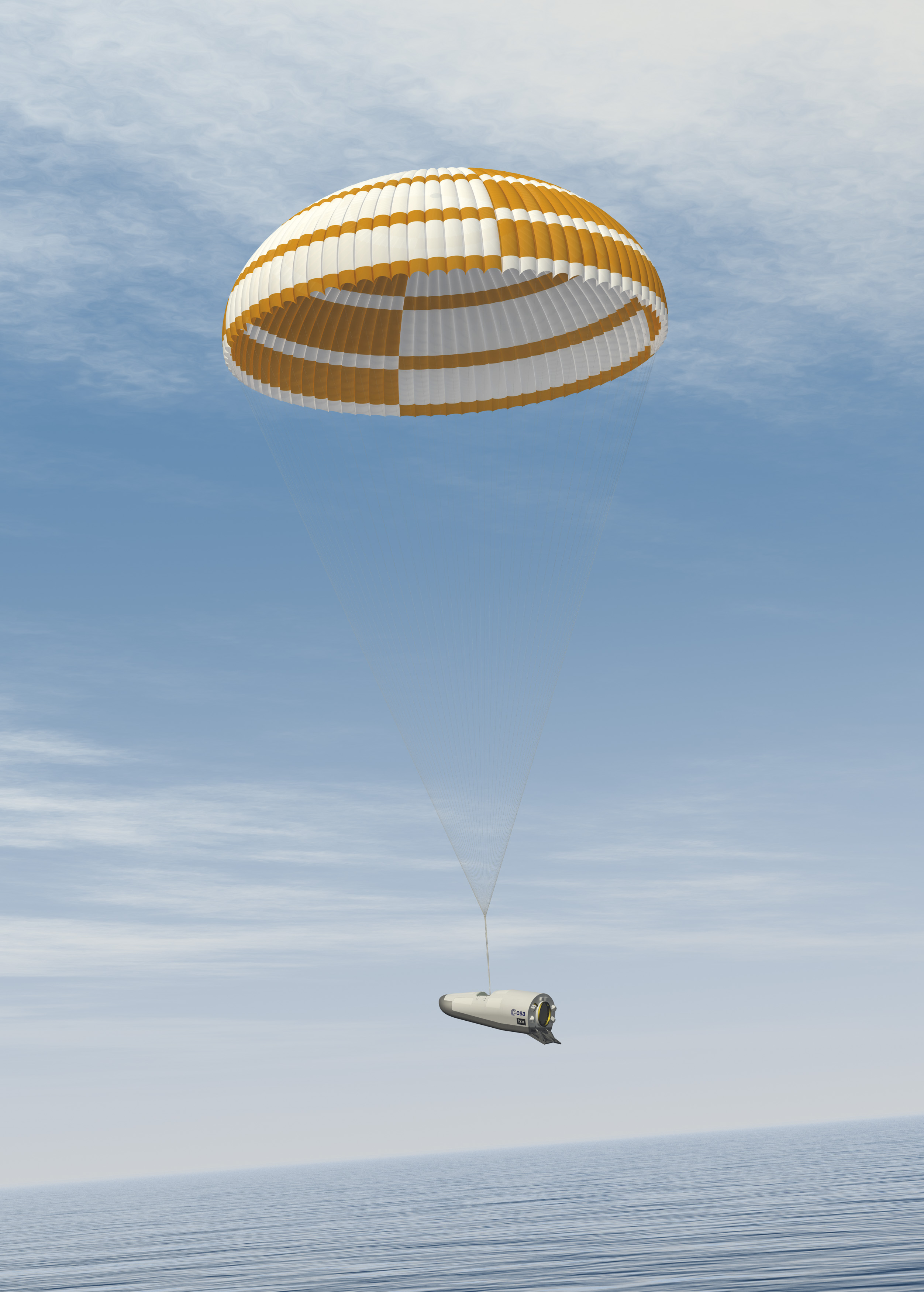 The IXV's main parachute deploys to slow the spacecraft's descent to the Pacific Ocean to about 6 meters per second (13 mph).