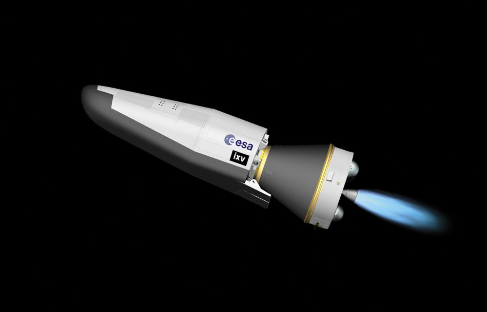 The Vega rocket's Attitude and Vernier Module, or fourth stage, ignites for the first time. The AVUM burns hydrazine fuel with an RD-869 engine provided by Yuzhnoye of Ukraine.