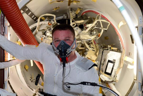"Astronaut Terry Virts conducts a ""pre-breathe"" regimen to purge nitrogen from his blood, reducing the risk of complications when inside the low-pressure spacesuit. Credit: NASA"
