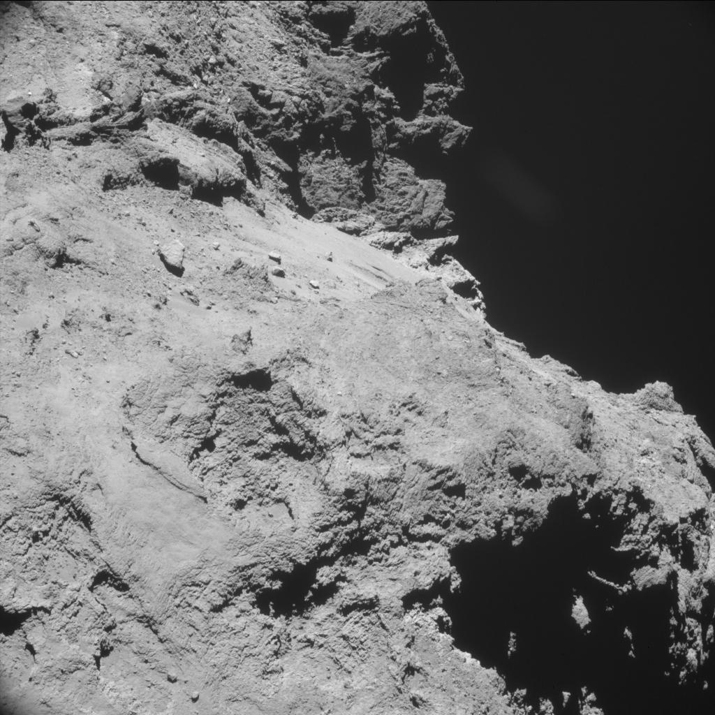 One frame from Rosetta's navigation camera shows sharp terrain on comet 67P/Churyumov-Gerasimenko. Credit: ESA/Rosetta/NAVCAM