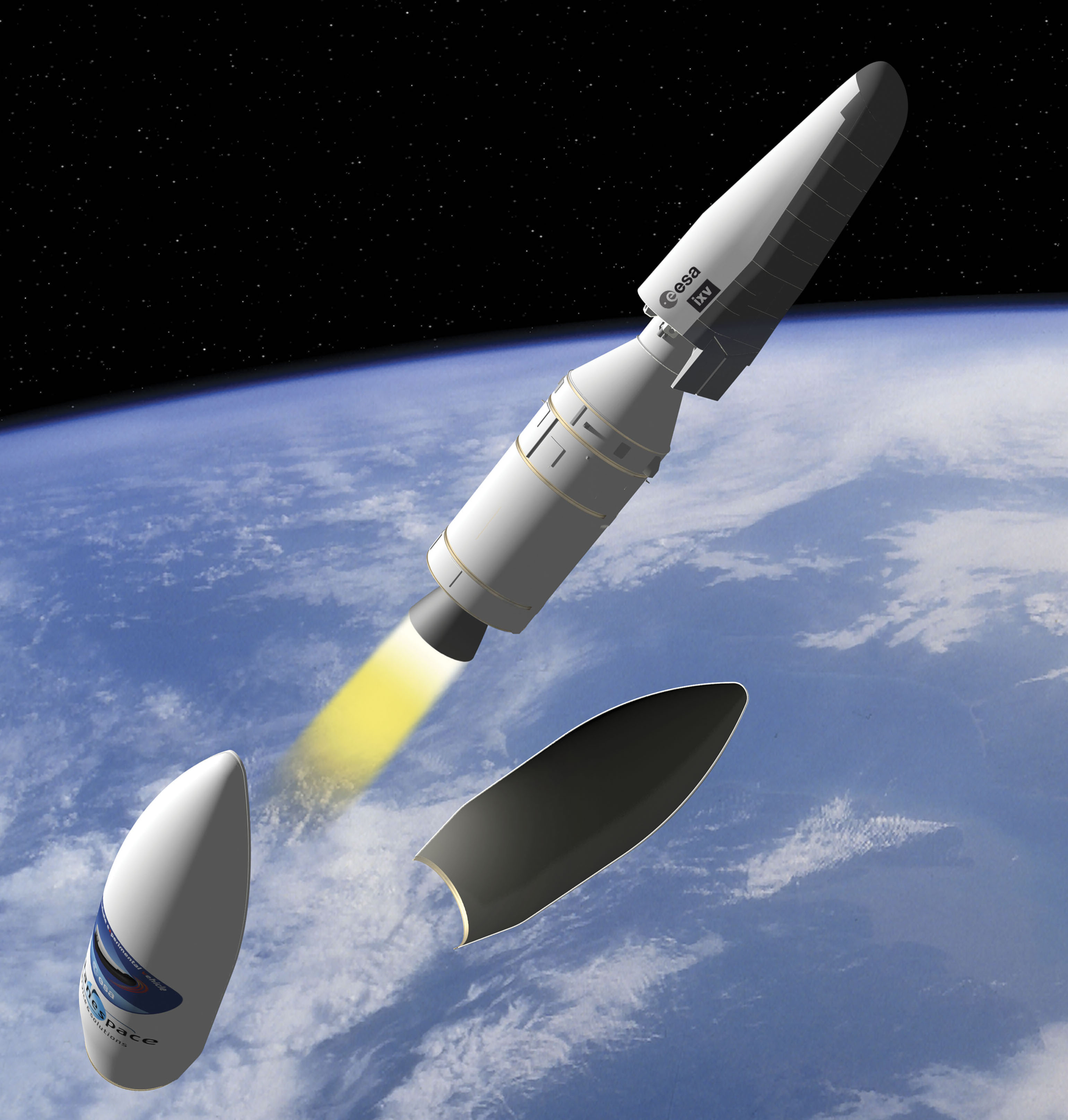 The Vega's 8.5-foot-diameter payload fairing is released as the rocket ascends into  space.