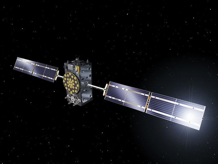 Artist's concept of a Galileo satellite in orbit. Credit: ESA-J. Huart