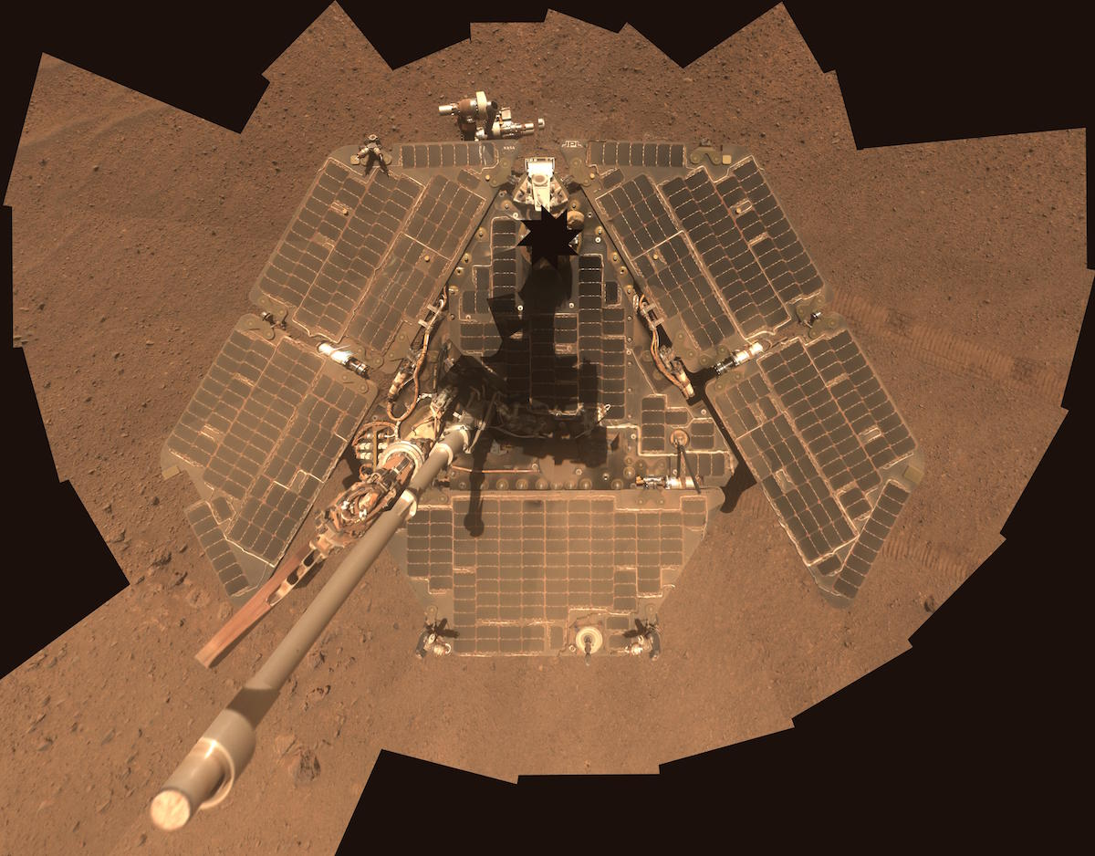 The Opportunity Mars acquired images for this self-portrait mosaic in March 2014. Credit: NASA/JPL-Caltech/Cornell Univ./Arizona State Univ.