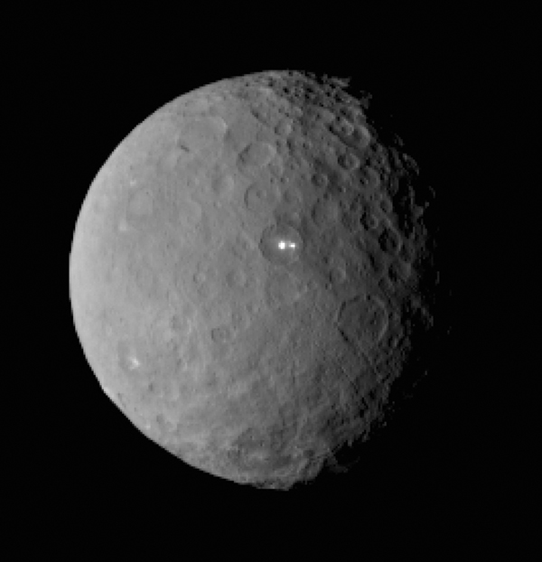 This image taken by Dawn's framing camera Feb. 19 at a range of 29,000 miles shows two bright spots on the same basin on Ceres. Credit: NASA/JPL-Caltech/UCLA/MPS/DLR/IDA