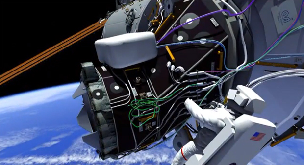 This frame from a computer animation shows the forward port of the International Space Station where Wilmore and Virts will spend much of their first spacewalk hooking up cables needed by new docking adapters. The docking adapters, which will be attached later this year, will enable visits by commercial crew capsules. Credit: NASA/CBS News