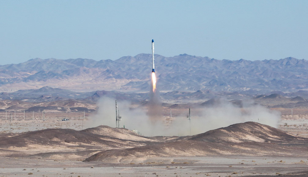 Iran's Safir rocket lifts off Monday with the country's fourth satellite. Credit: Iranian Defense Ministry