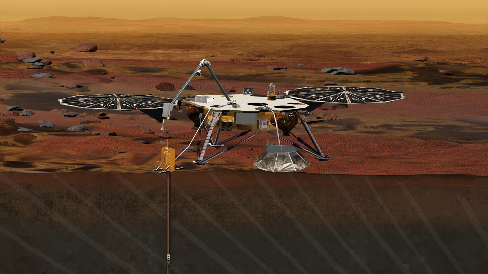 Artist's concept of the InSight Mars lander, the next Discovery-class mission set for launch in March 2016. Credit: NASA/JPL-Caltech