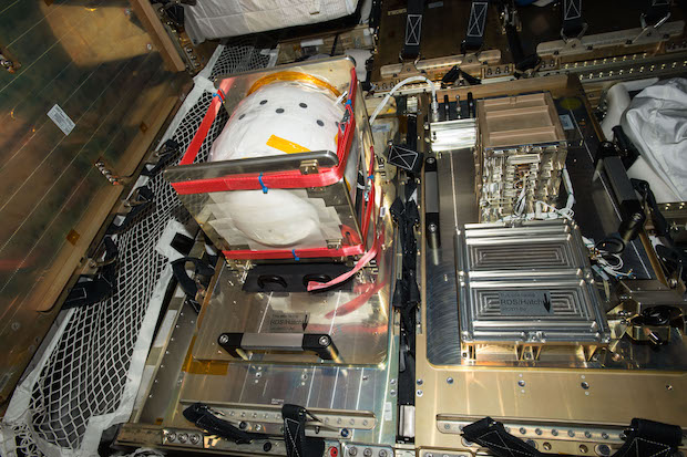 ESA's re-entry infrared camera and data transmitter inside the ATV's pressurized cargo module. Credit: ESA/NASA