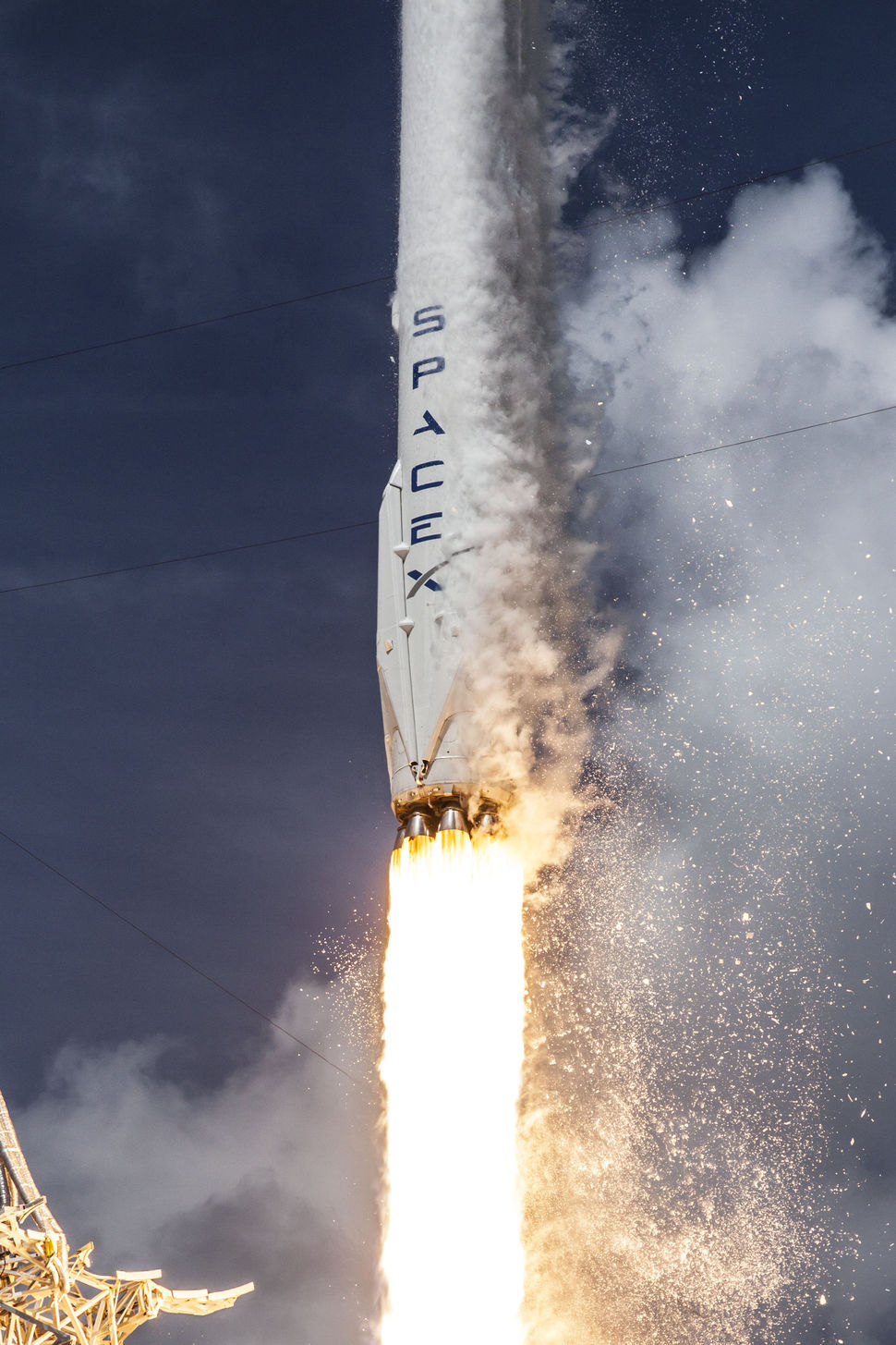 Nine Merlin 1D engines power the first stage of the Falcon 9 rocket, as seen in this file photo from a July 2014 launch. Credit: SpaceX