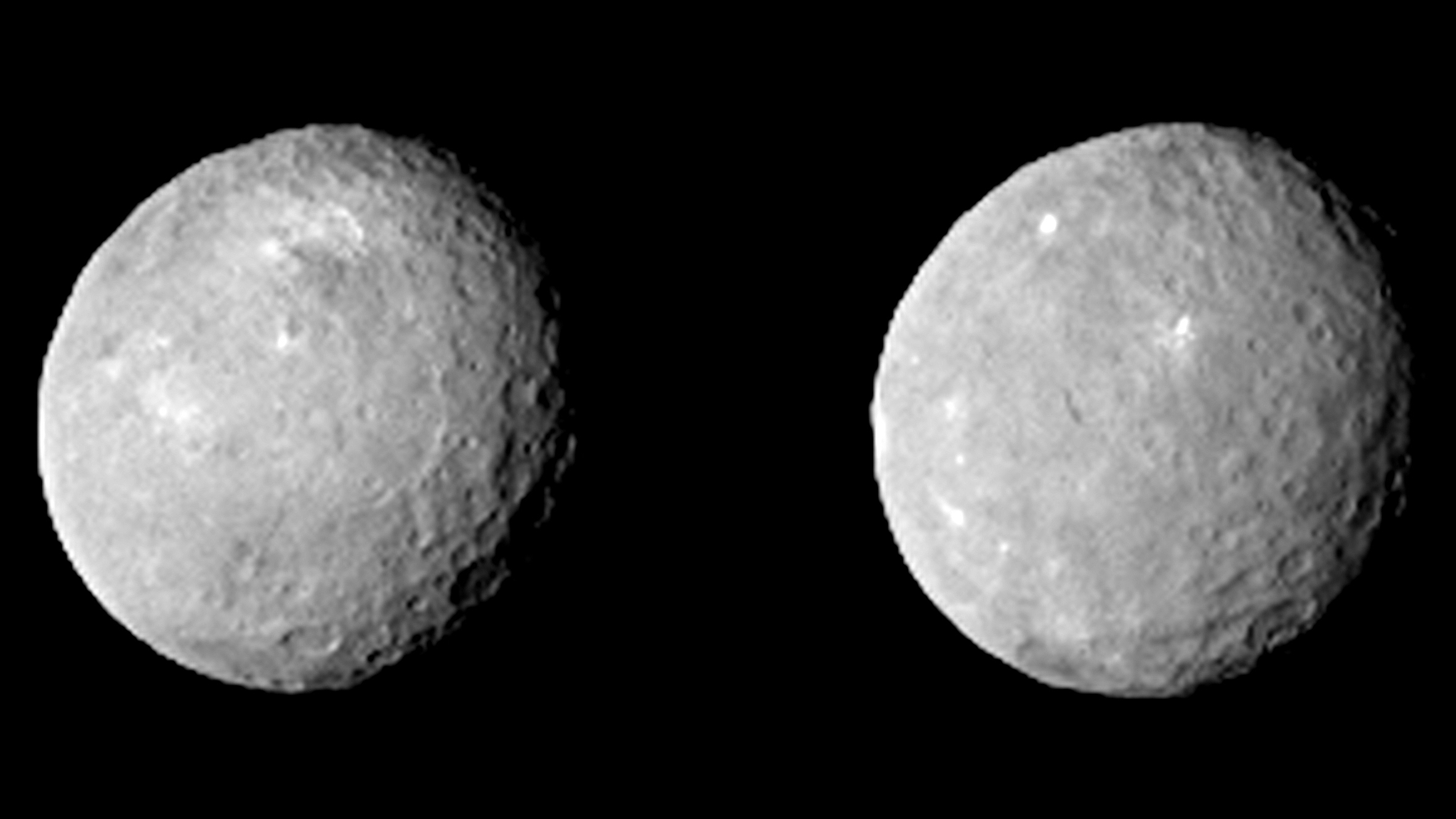 These two views of Ceres were acquired by NASA's Dawn spacecraft on Feb. 12, 2015, from a distance of about 52,000 miles (83,000 kilometers) as the dwarf planet rotated. The images, which were taken about 10 hours apart, have been magnified from their original size. Credit: NASA/JPL-Caltech/UCLA/MPS/DLR/IDA