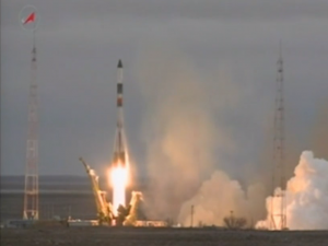 The Progress M-26M spacecraft lifted off at 1100 GMT (6 a.m. EST; 5 p.m. local time) Tuesday from the Baikonur Cosmodrome in Kazakhstan. Credit: NASA TV/Spaceflight Now