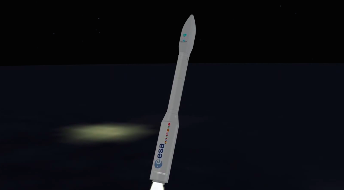 The Vega rocket surpasses the speed of sound as it soars on an easterly trajectory from French Guiana.