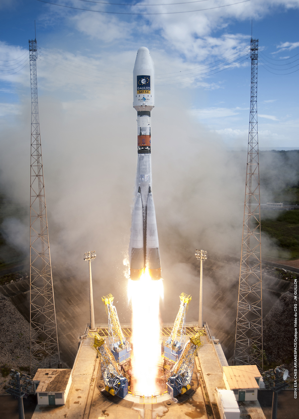 A Soyuz rocket lifts off from French Guiana on Aug. 22 with two Galileo navigation satellites. The rocket's Fregat upper stage deposited the spacecraft in the wrong orbit. Credit: Photo credit: ESA/CNES/Arianespace – Photo Optique Video du CSG – JM Guillon