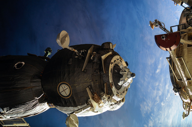 File photo of a Soyuz spacecraft at the International Space Station. Credit: NASA