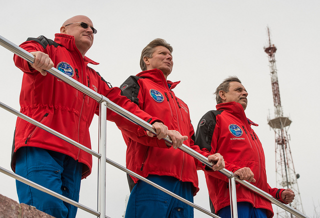 NASA astronaut Scott Kelly and Russian cosmonauts Gennady Padalka and Mikhail Kornienko will blast off Friday. Credit: NASA/Bill Ingalls