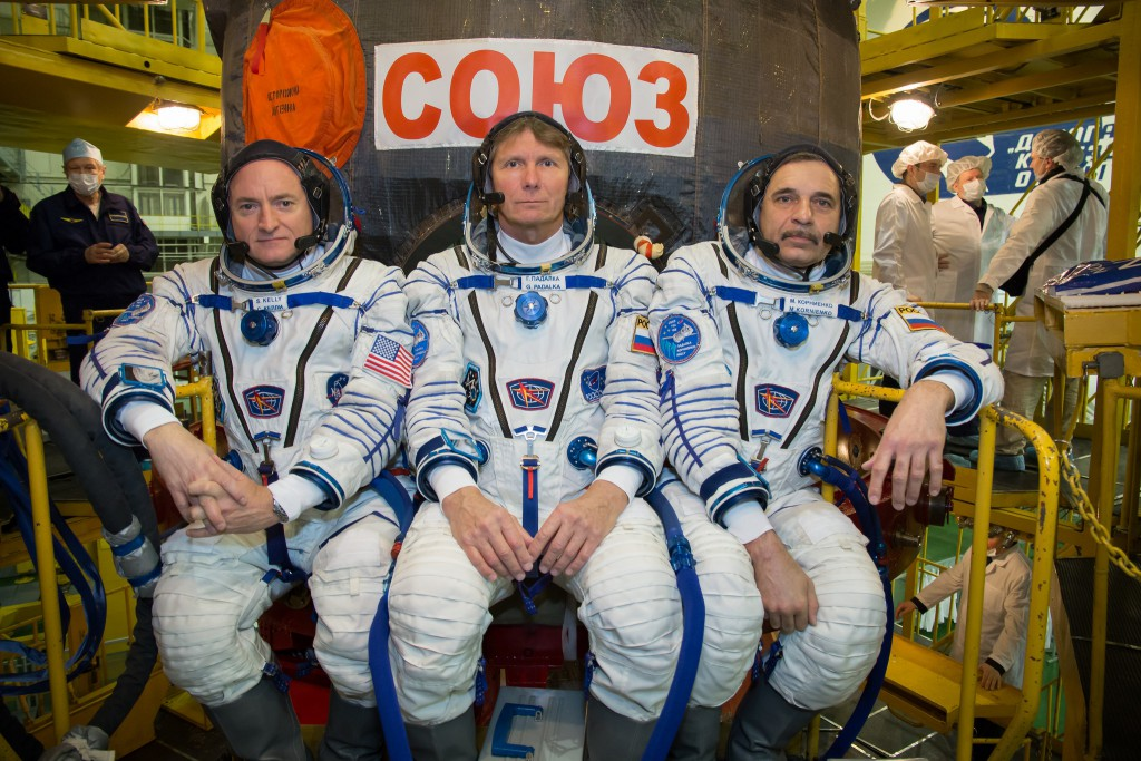 Veteran astronaut Scott Kelly, Soyuz commander Gennady Padalka and cosmonaut Mikhail Kornienko are set to blast off to the International Space Station at 1942:57 GMT (3:42:57 p.m. EDT) Friday. Credit: NASA/Victor Zelentsov
