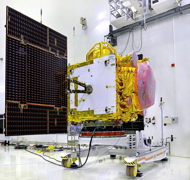 The IRNSS 1D spacecraft seen before launch. Credit: ISRO