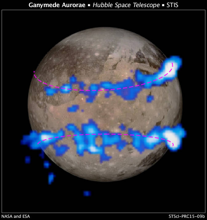 NASA Hubble Space Telescope images of Ganymede's auroral belts (colored blue in this illustration) are overlaid on a Galileo orbiter image of the moon. The amount of rocking of the moon's magnetic field provided evidence that the moon has a subsurface saltwater ocean.  Credit: NASA/ESA