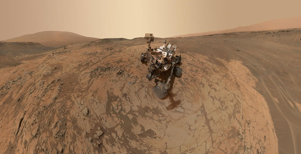 "Image analysts used dozens of images from Curiosity's arm-mounted camera to create this ""selfie"" at the base of Mount Sharp. Credit: NASA/JPL-Caltech/MSSS"