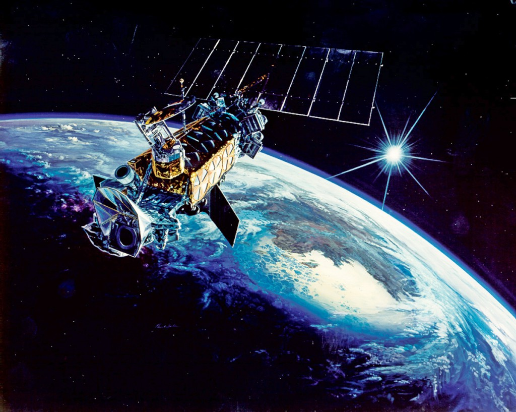 Artist's concept of a DMSP weather satellite in orbit. Credit: U.S. Air Force
