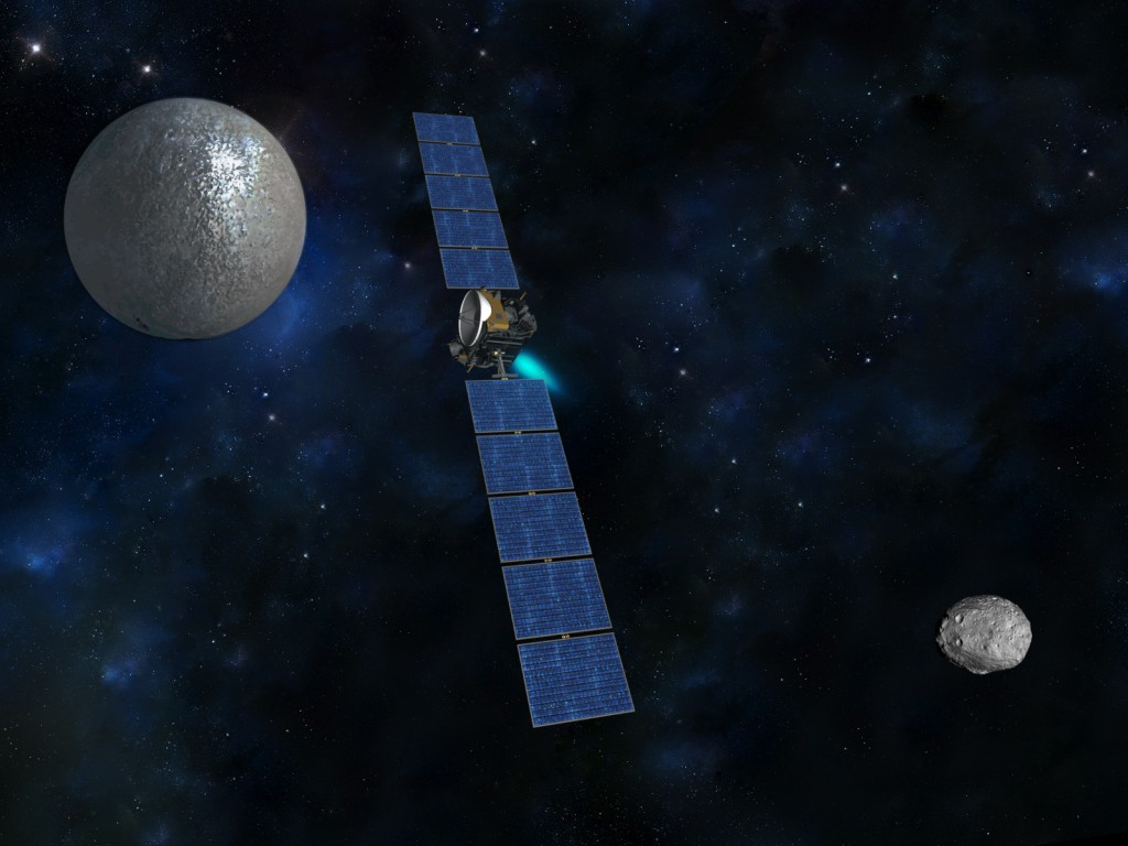 Artist's concept of the Dawn spacecraft. Credit: NASA