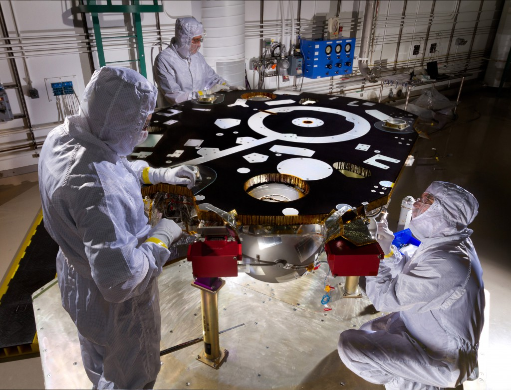 Technicians at Lockheed Martin's facility near Denver work on the InSight lander's primary structure last year. Credit: Lockheed Martin