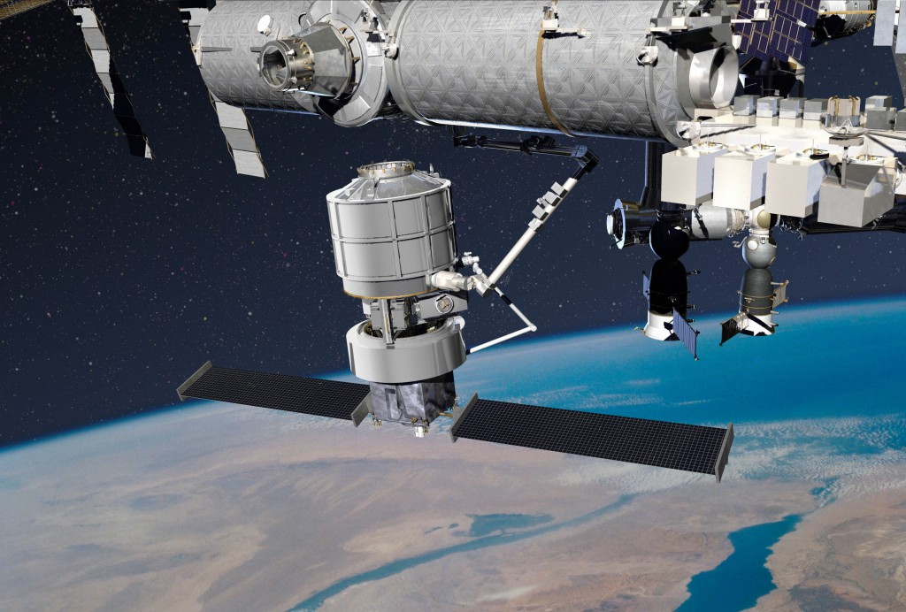 Artist's concept of Lockheed Martin's Jupiter spacecraft and Exoliner cargo module grappled by the International Space Station's robotic arm. Credit: Lockheed Martin