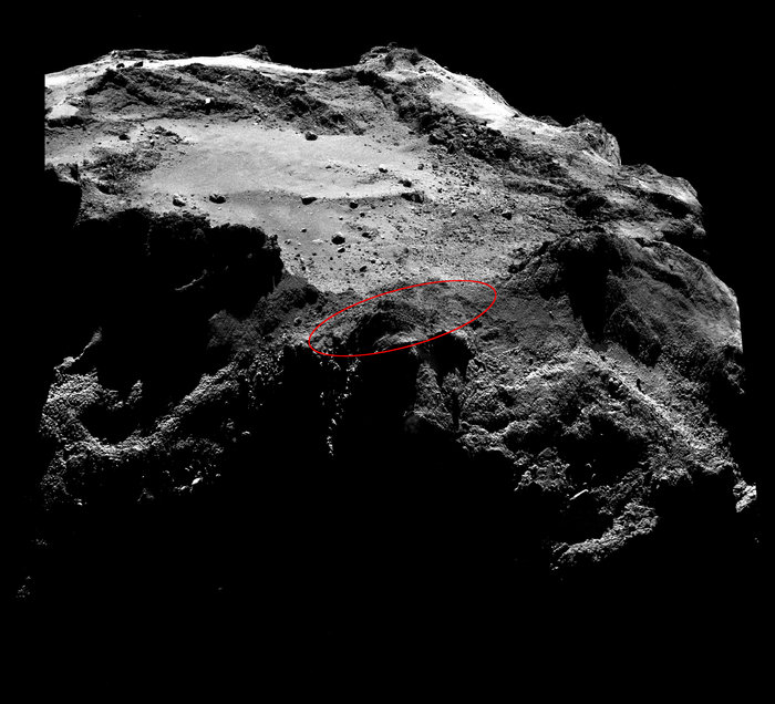 The ellipse in this image from Rosetta's OSIRIS science camera marks the search area where Philae most likely ended up after its bouncy landing in November. Credit: ESA/Rosetta/MPS for OSIRIS Team MPS/UPD/LAM/IAA/SSO/INTA/UPM/DASP/IDA